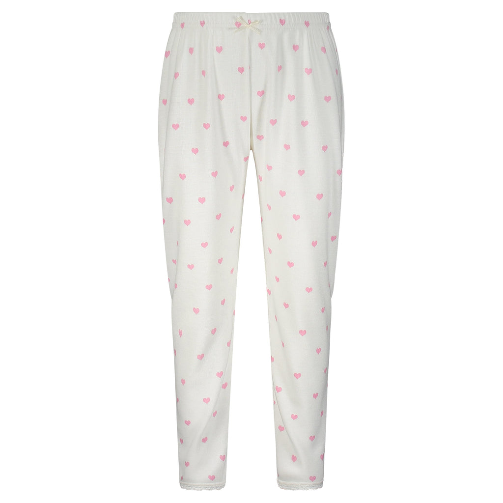 GIRLS Pink Hearts Print PANTS w Lace Hems