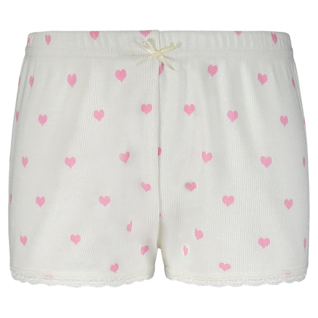 GIRLS Pink Hearts Print SHORTS w Lace Hems