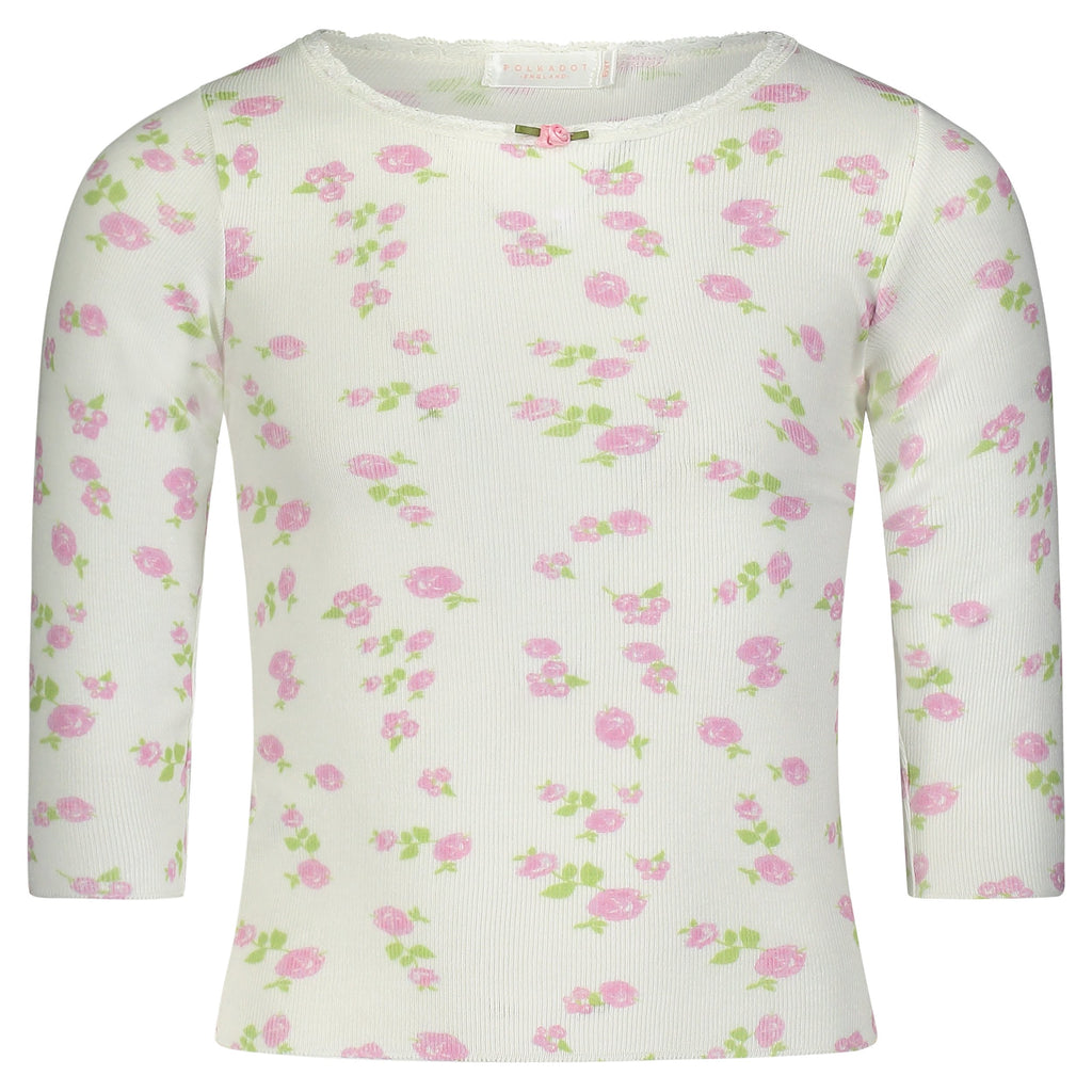 GIRLS Pink Rose Print CREW LS w Lace