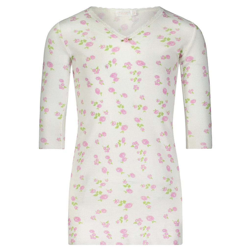 GIRLS Pink Rose Print DRESS V Neck 3/4 Slv
