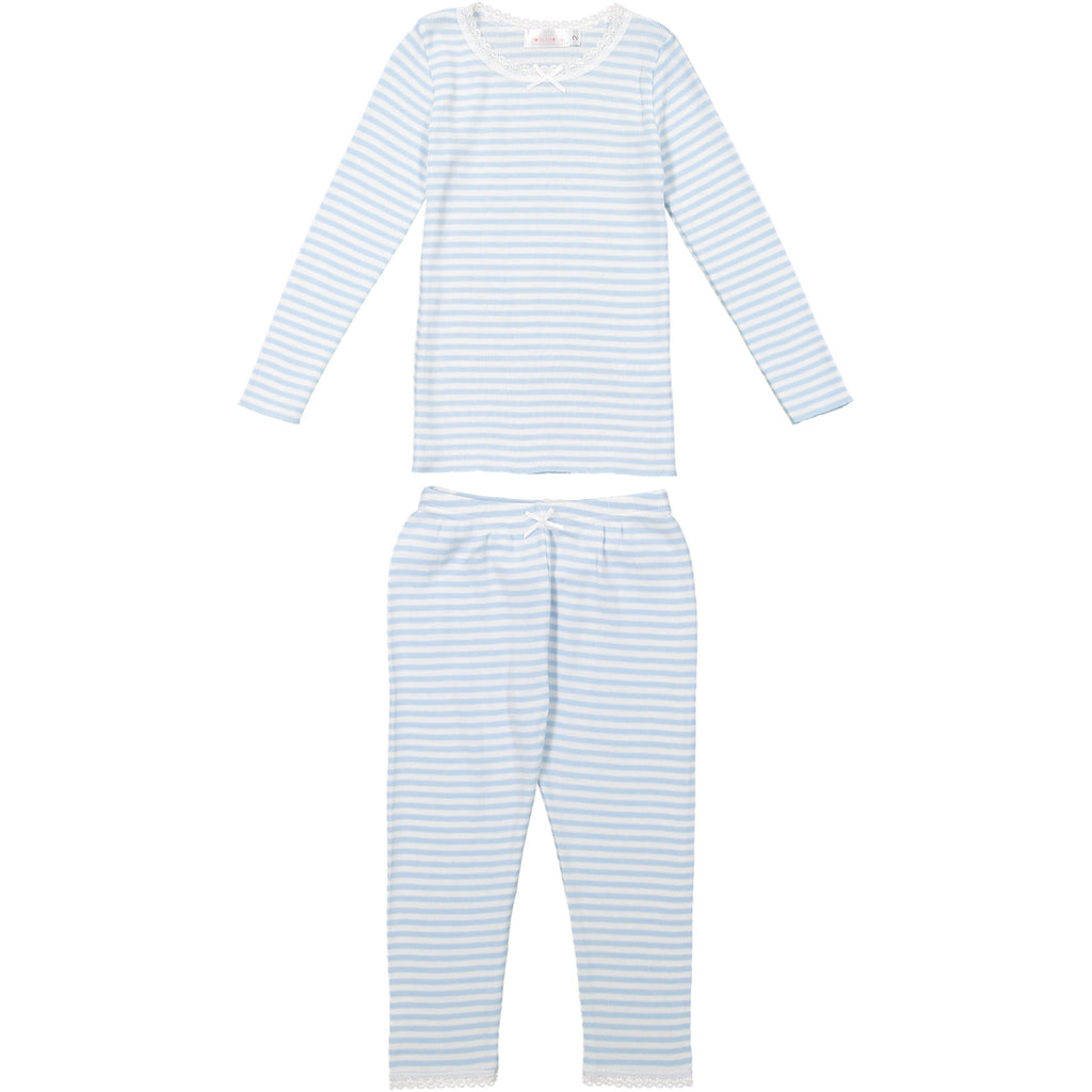 GIRLS OCEAN BLUE Sailor Stripe PJ CREW LS w Lace