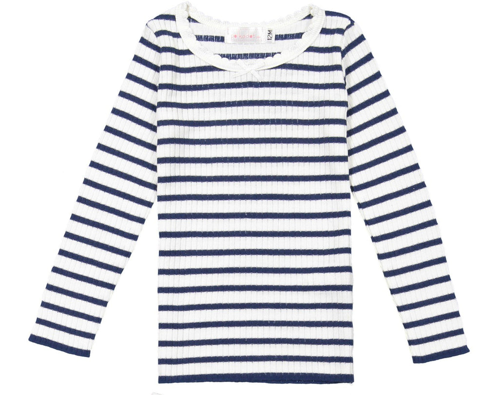 GIRLS PJ CREW LS Breton Rib Stripe Navy /Cream