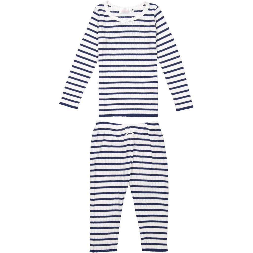 GIRLS PJ PANT Breton Rib Stripe Navy/Cream