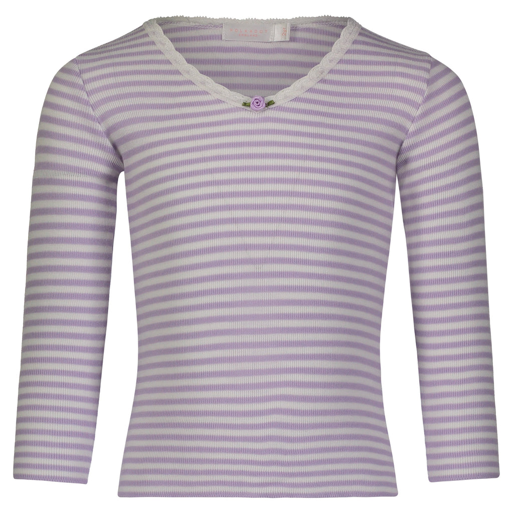 GIRLS HI V NECK LS TOP Lilac Sailor Stripe w Lace