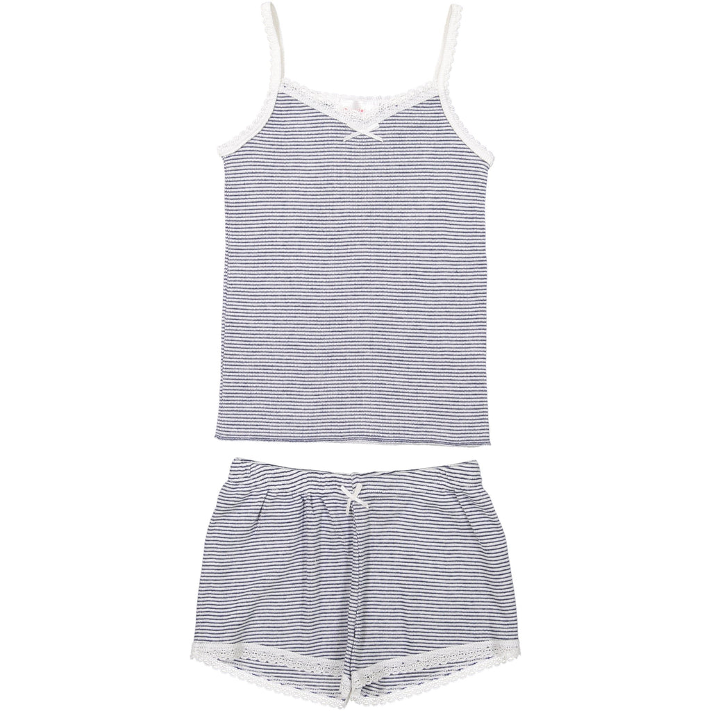 GIRLS CAMISOLE Navy/Cream Skinny Stripe