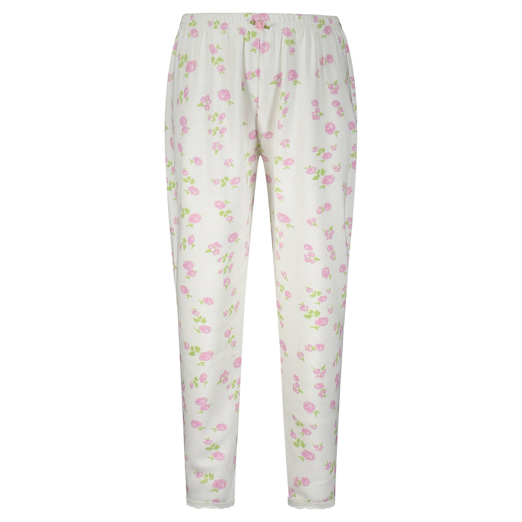 GIRLS Pink Rose Print PANTS w Lace Hems