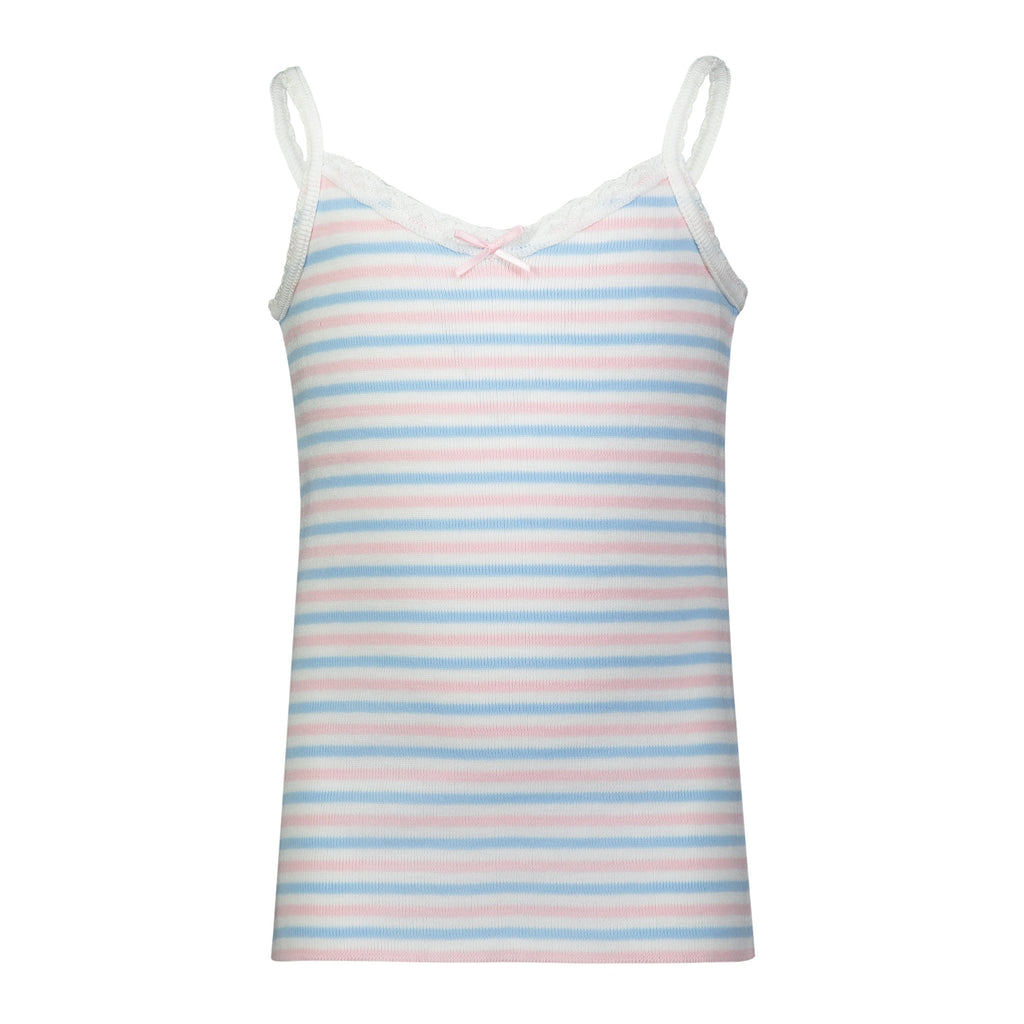 GIRLS PJ CAMISOLE Pink /Lt Blue /Cream Sailor Stripe w Lace