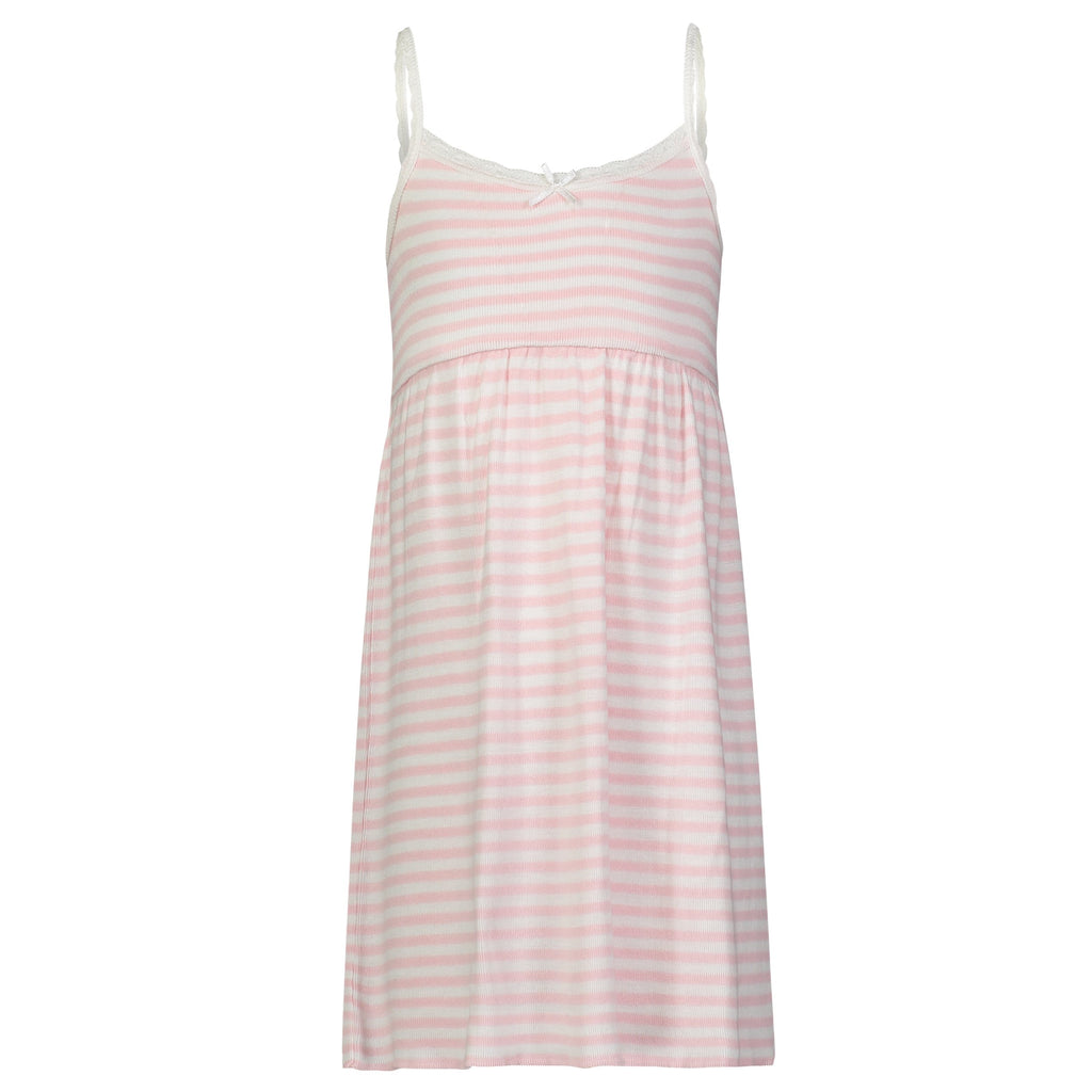 GIRLS BABYDOLL DRESS Pink Sailor Stripe w Lace