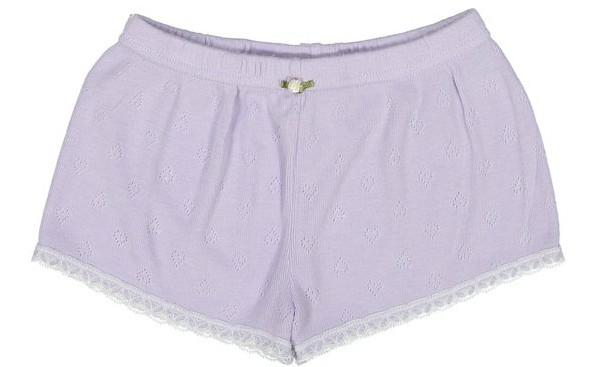 GIRLS SHORT Lilac Vintage Hearts w Lace