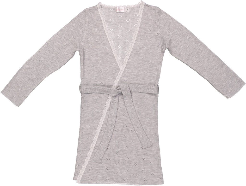 GIRLS ROBE Heather Grey Vintage Hearts w Lace