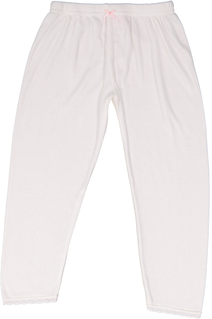 GIRLS PJ PANT Pearl White Vintage Hearts w Lace