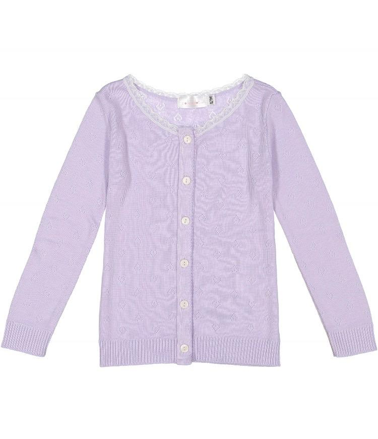 GIRLS CARDIGAN Lilac Vintage Hearts