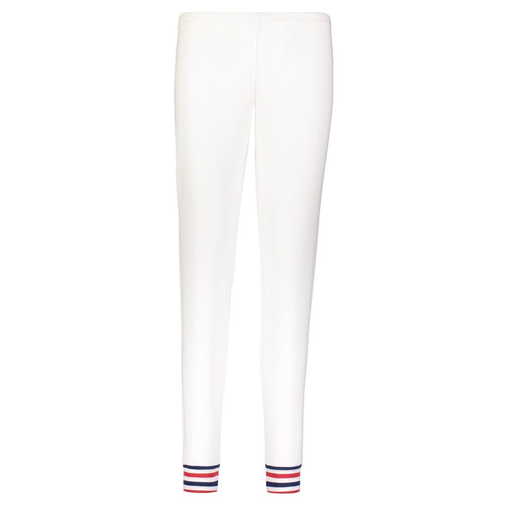 JOGGER Cream w Red and Navy Stripe Cuffs