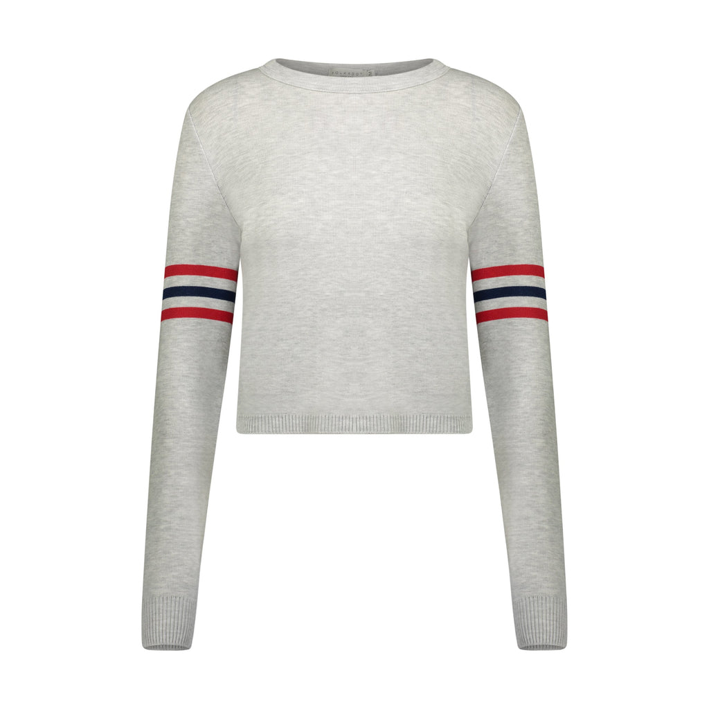 PARKER CROP SLOUCHY Crew LS HEATHER GREY w Red and Navy Stripes
