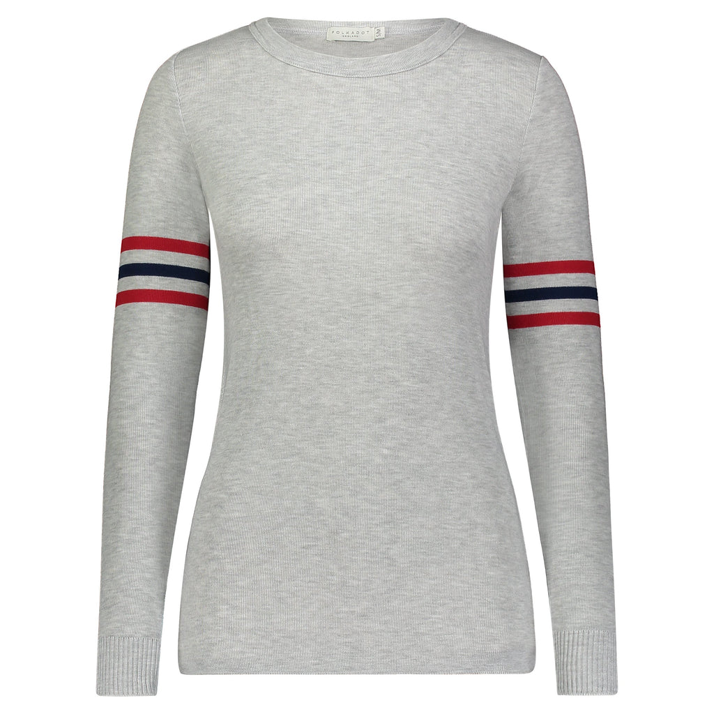 SOPHIA SLOUCHY Crew LS HEATHER GREY w Red /Navy Stripes