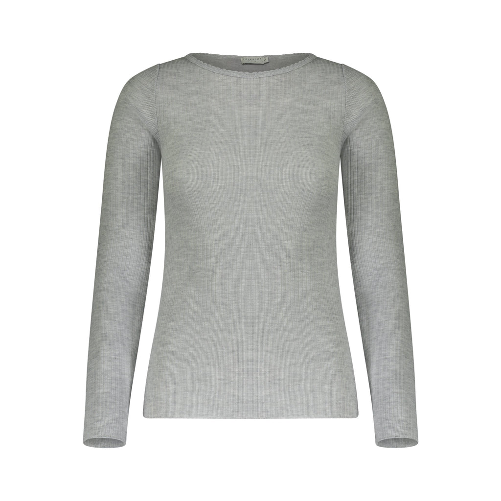 CREW LS Ribbed Heather Grey w Scallop