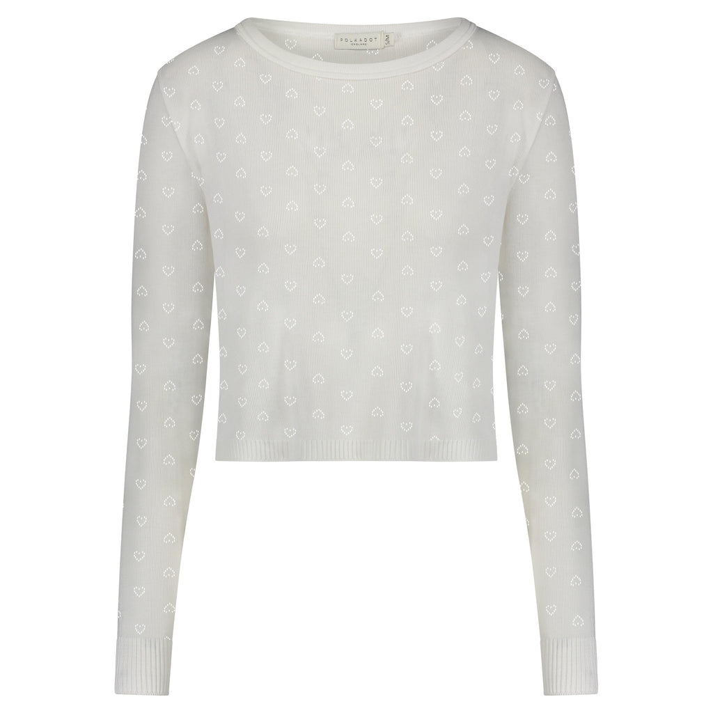 PARKER CROP SLOUCHY Pearl White Vintage Hearts Pointelle