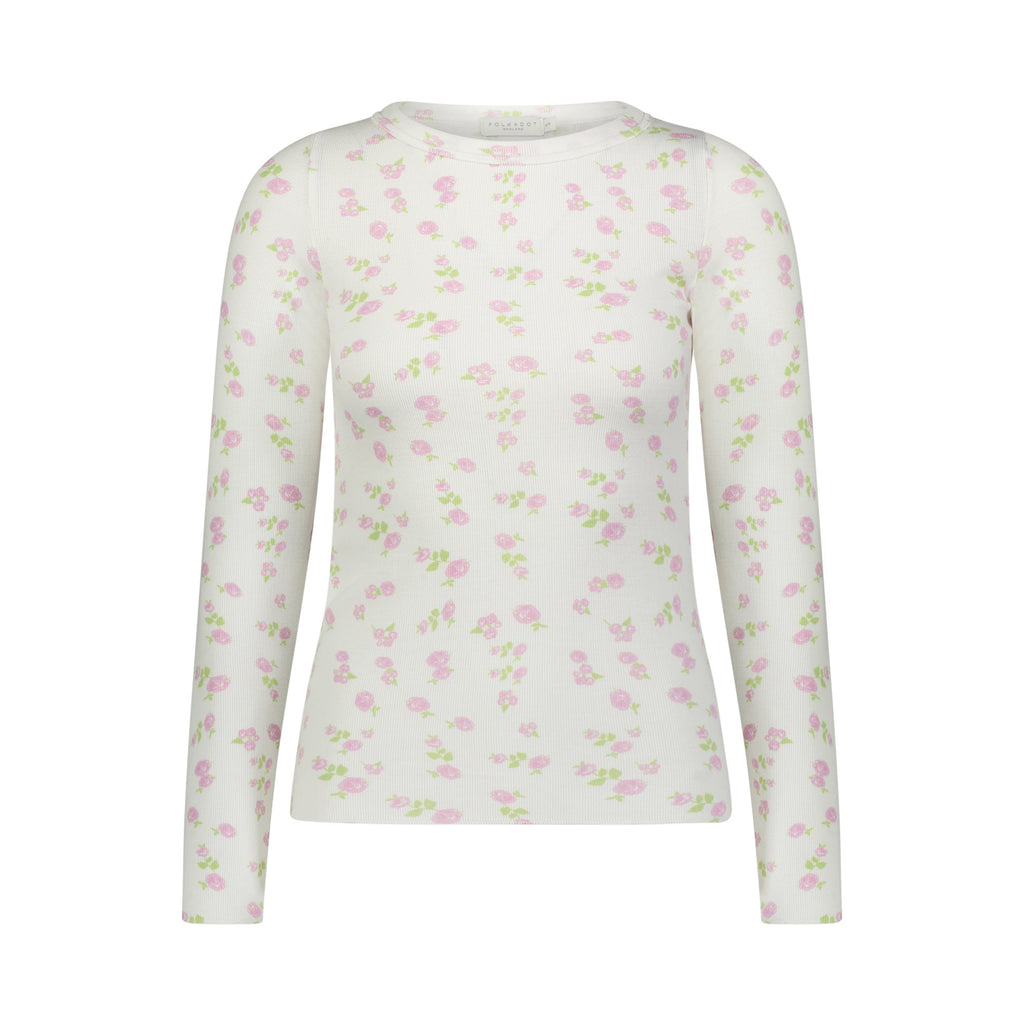 REBECCA FITTED TOP PINK ROSE PRINT