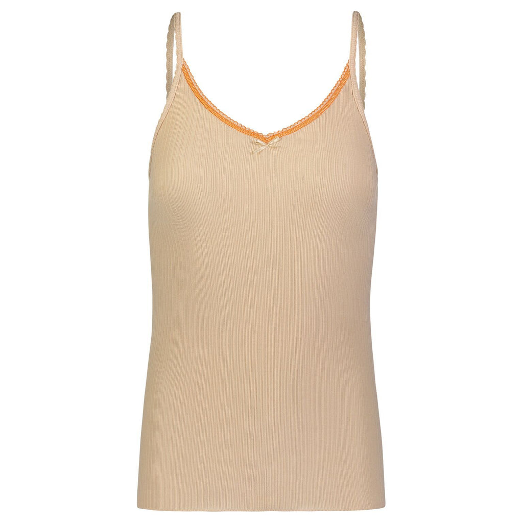 CAMISOLE Sand Ribbed w Orange Picot