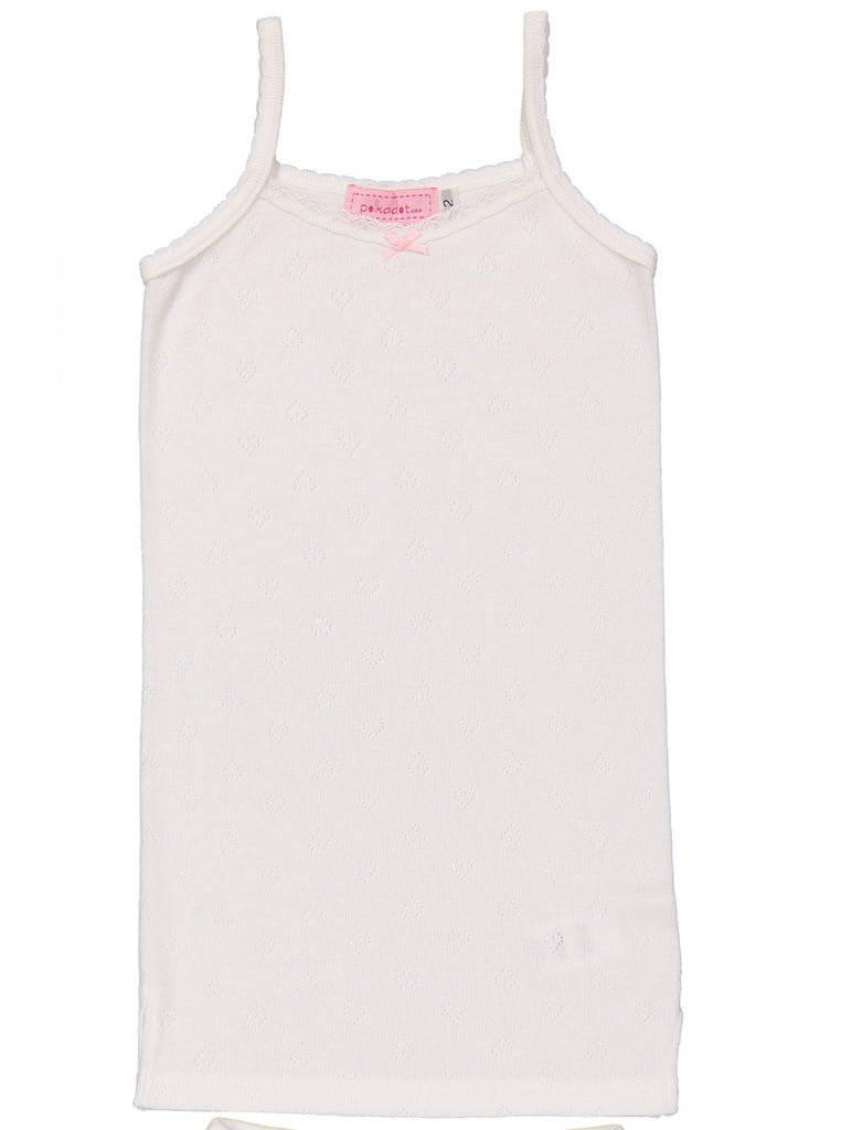GIRLS CAMISOLE White Vintage Hearts w Lace