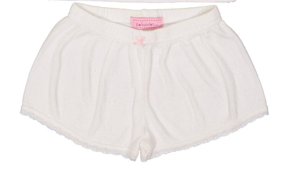 GIRLS SHORT White Vintage Hearts w Lace