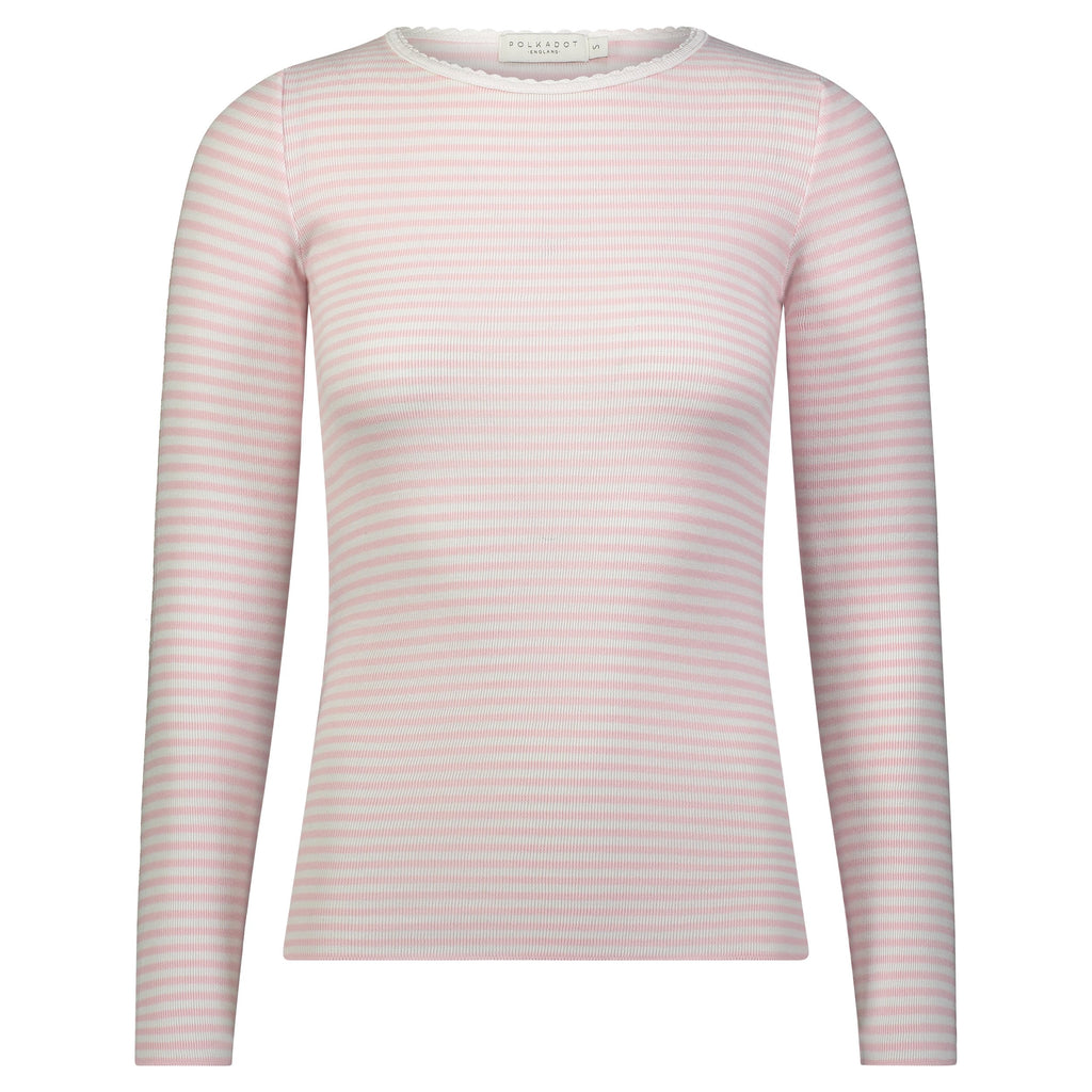 CREW LS  Pink Sailor Stripe w Scallop