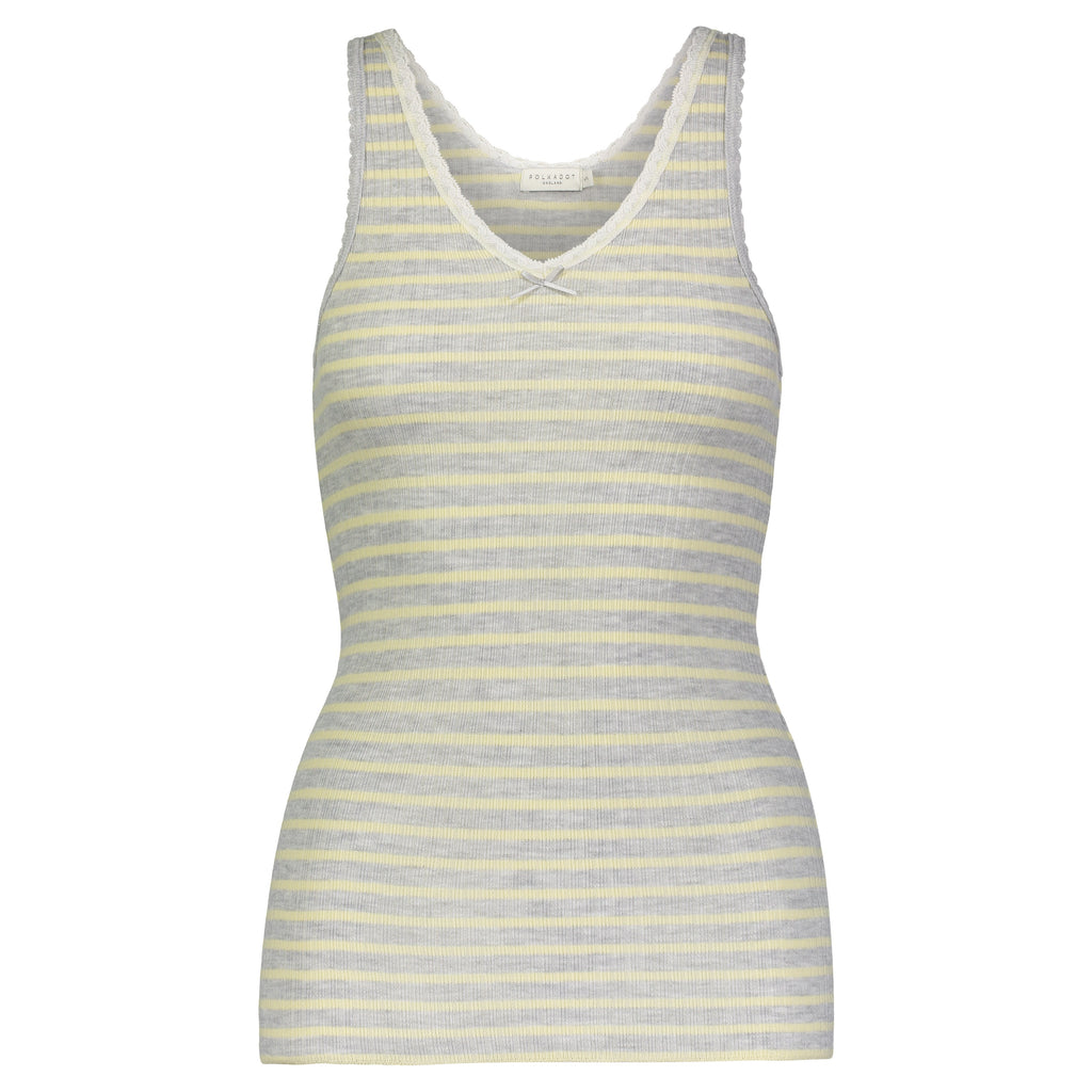 V-NECK TANK Yellow Breton Rib Stripe