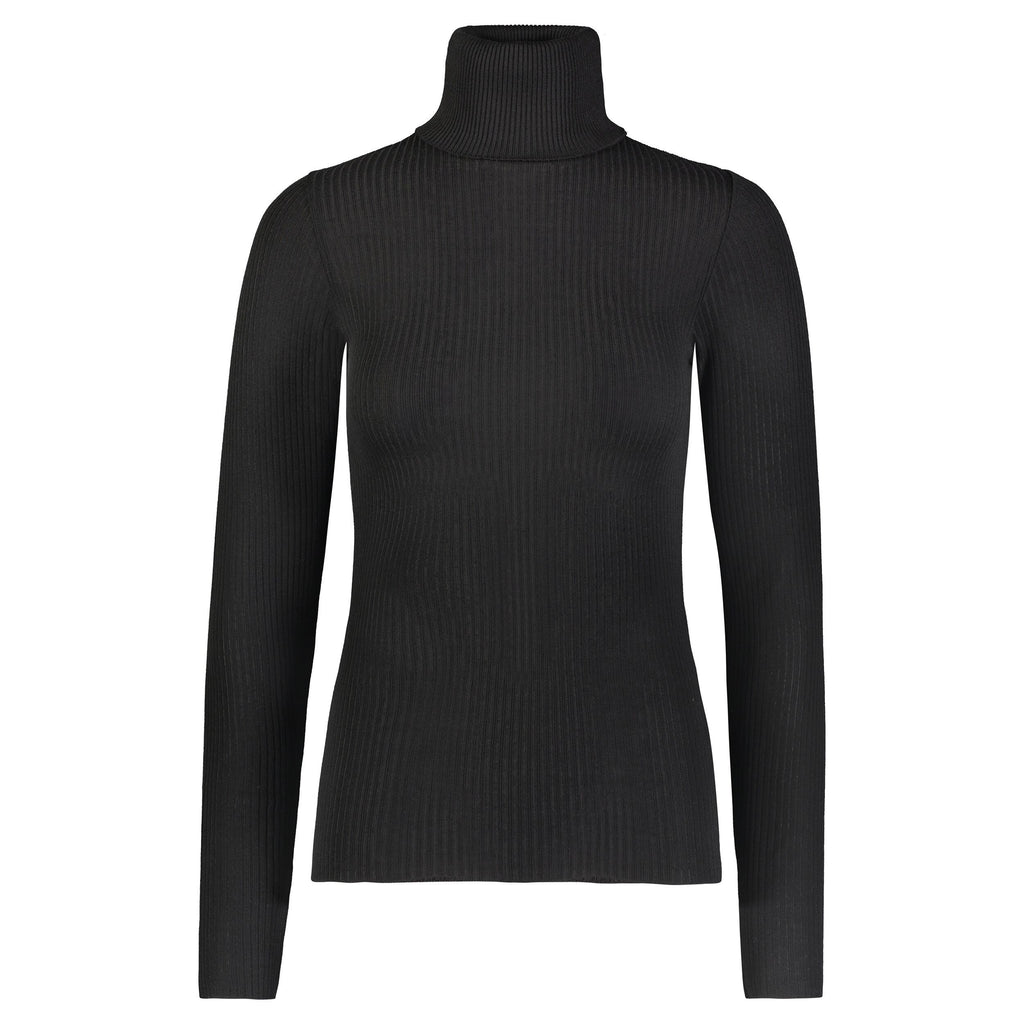TURTLENECK LS BLACK Rib Knit