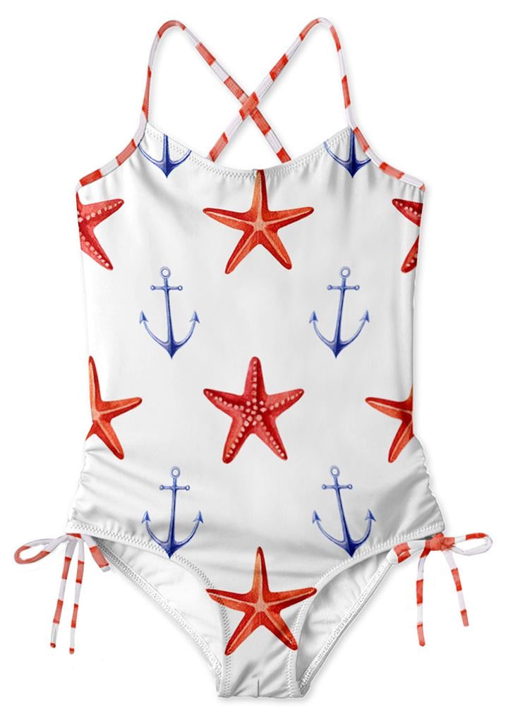 STELLA COVE ~ Starfish and Anchor side tie swimsuit