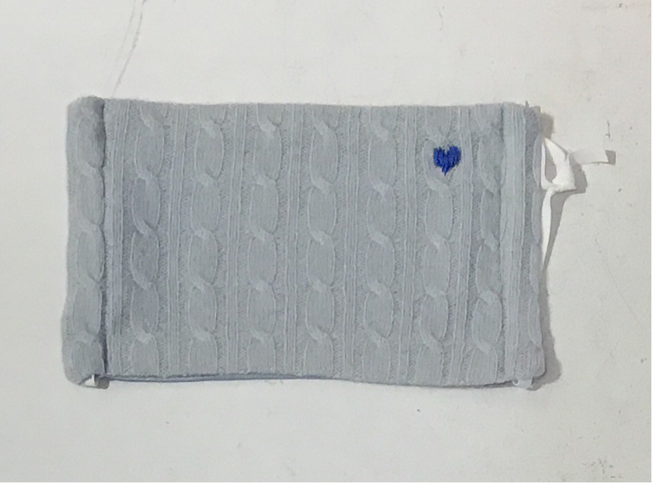 Cashmere Mask- Embroidered Heart- Blue Cable Knit with Blue Heart