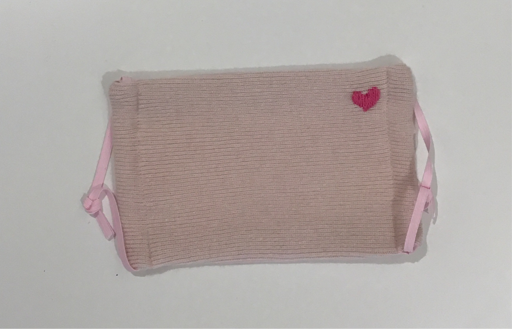 Cashmere Mask- Embroidered Heart- Pink with Pink Heart