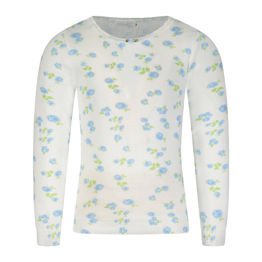 GIRLS Blue Floral Print CREW LS w Lace
