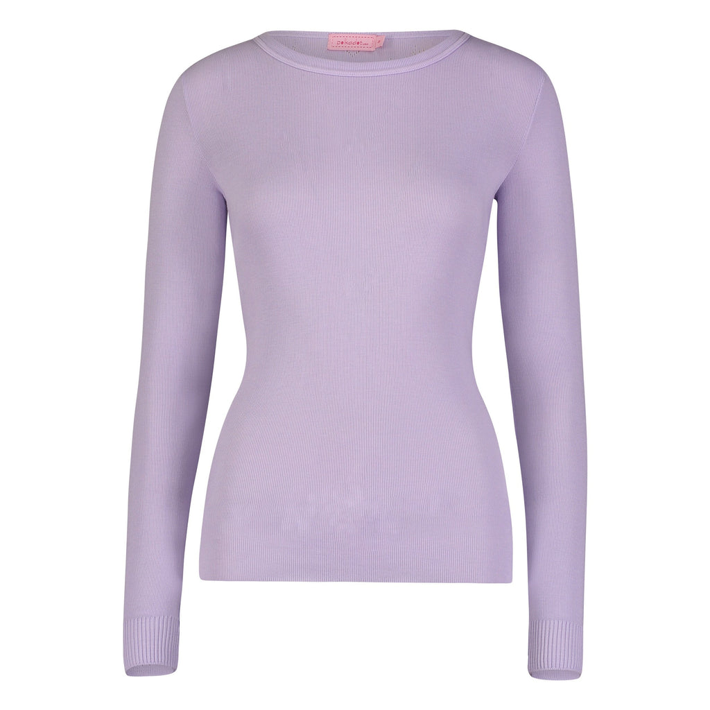 SLOUCHY CREW LS Solid Knit Lilac