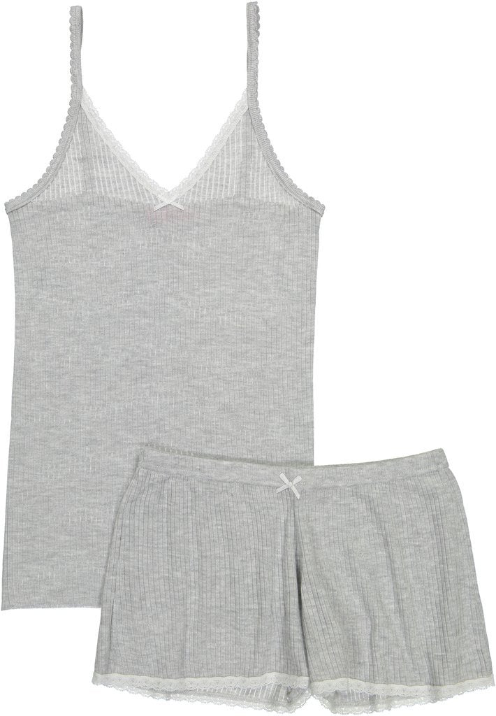 RIB CAMISOLE Heather Grey w Lace -IN STOCK