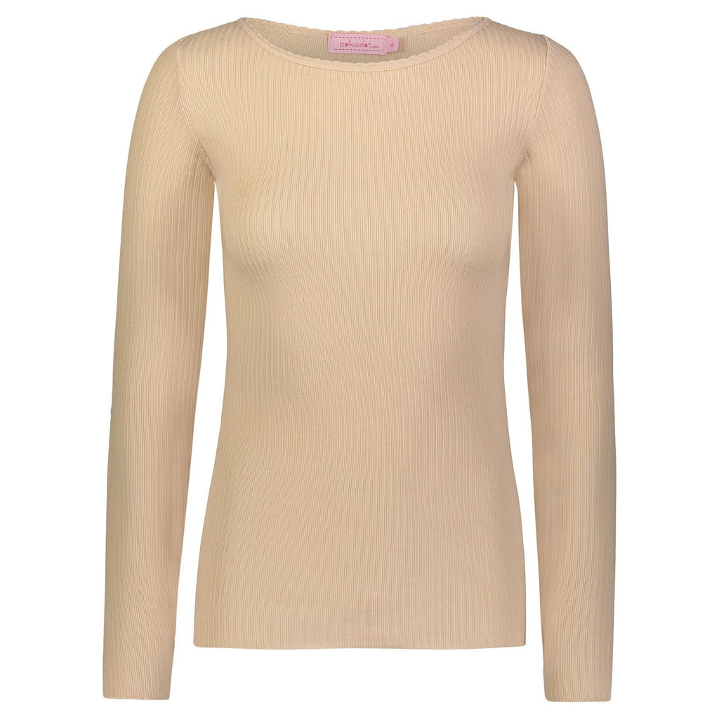 CREW NECK TOP Sand Ribbed LS w Scallop Neckline