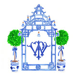 Blue Pagoda Monogram Crest Stickers