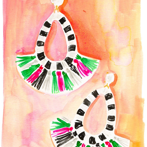 Fringe Earrings Note Cards