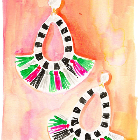 Fringe Earrings Print