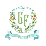 Citrus Grove Monogram Crest Note Cards