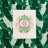 Pink and Green Zebra Monogram Crest Gift Tags