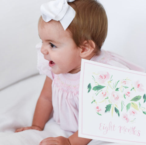 Baby Girl Milestone Card Set + Swaddle Blanket + Print Combination