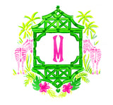 Pink and Green Zebra Monogram Crest Stickers