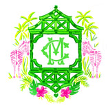 Pink and Green Zebra Monogram Crest Note Cards