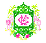 Pink and Green Zebra Monogram Crest Print