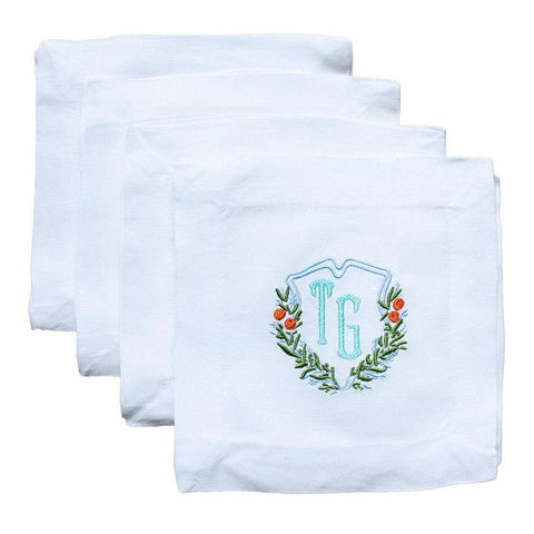Kara McKean Designs for Lettermade Citrus Monogram Crest Cocktail Napkins