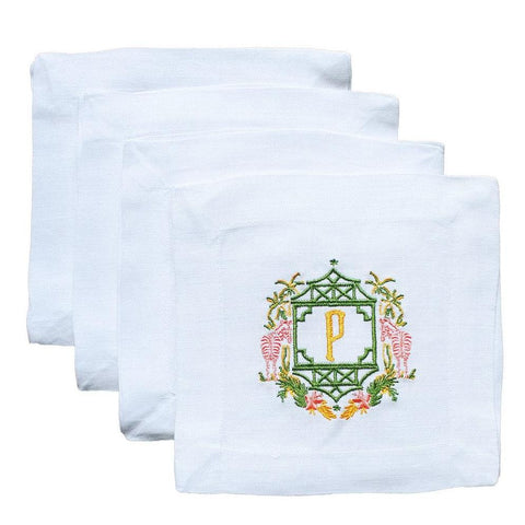 Kara McKean Designs for Lettermade Zebra Monogram Crest Cocktail Napkins