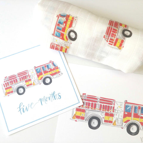 Baby Boy Milestone Card Set + Swaddle Blanket + Print Combination