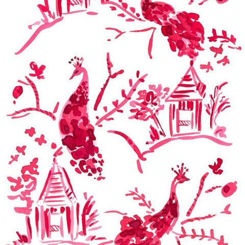 Red Peacock Toile Note Cards
