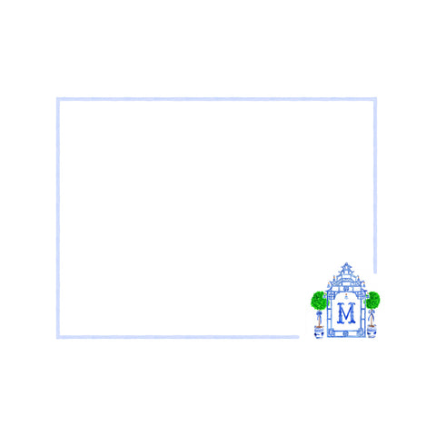 Blue Pagoda Monogram Crest Note Cards