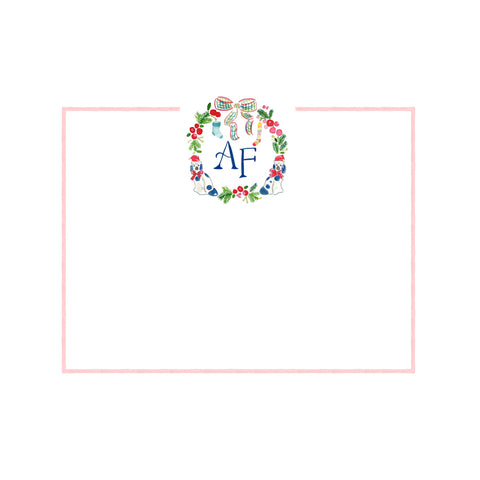 Holiday Monogram Crest with Staffordshire Dogs Note Cards